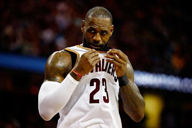 LeBron James reacts in the first half of Game 4 of the 2017 Eastern Conference finals. (Gregory Shamus/Getty Images)