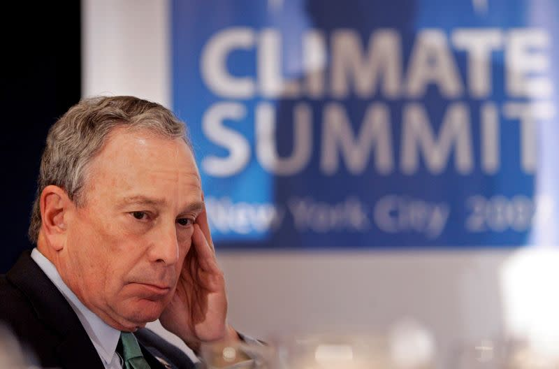 FILE PHOTO: New York Mayor Michael Bloomberg listens to introductions at the C40 Large Cities Climate Summit luncheon in New York