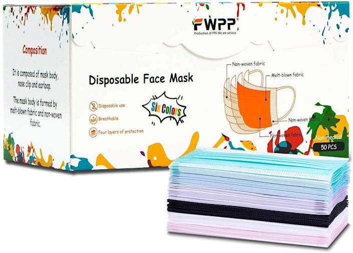 """<p><strong>FWPP</strong></p><p>Amazon</p><p><strong>$11.99</strong></p><p><a href=""""https://www.amazon.com/FWPP-Disposable-Surgical-Bacteria-Procedure/dp/B0789FBQW9/ref=sr_1_117?dchild=1&keywords=disposable+face+mask&qid=1627489869&s=industrial&sr=1-117&tag=syn-yahoo-20&ascsubtag=%5Bartid%7C2140.g.34252719%5Bsrc%7Cyahoo-us"""" rel=""""nofollow noopener"""" target=""""_blank"""" data-ylk=""""slk:Shop Now"""" class=""""link rapid-noclick-resp"""">Shop Now</a></p><p>This pack of mask offers six colors and a unique four-layered design. The pastel colors (plus a great basic black) are pretty, but not too loud for the workplace. </p><p><strong>Rave review:</strong> """"These are a beautiful colorful mask they are comfortable to wear all day long. I have a different color for each scrub that I wear every day love to be in fashion even when I work in scrubs!""""</p>"""