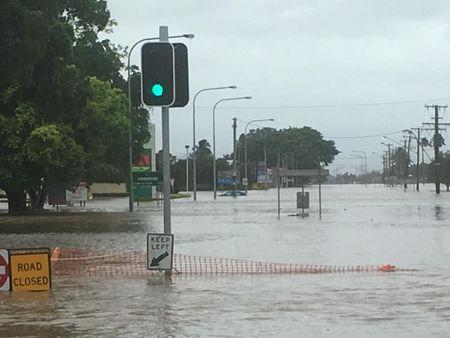 Floodwater covers streets in Queensland