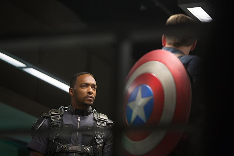 Anthony Mackie and Chris Evans in 'Captain America: The Winter Soldier.' When the Marvel Cinematic Universe returns, Mackie will be carrying Cap's shield. (Photo: Zade Rosenthal/©Walt Disney Studios Motion Pictures/courtesy Everett Collection)
