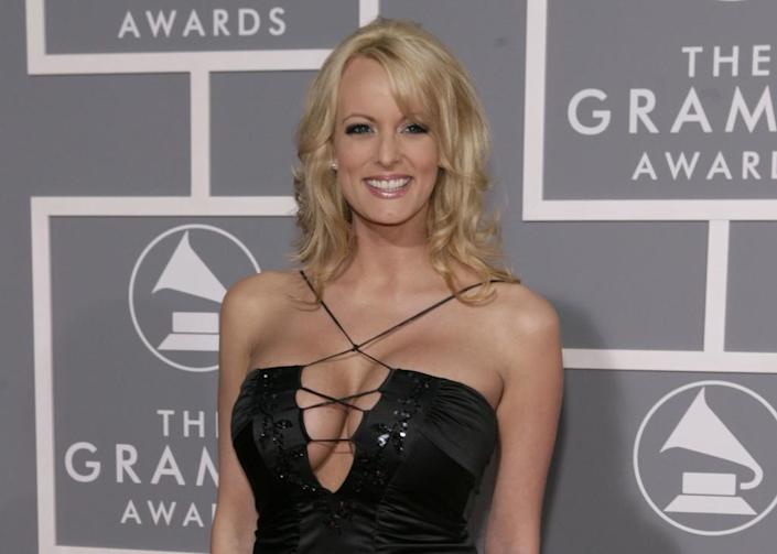 Stormy Daniels at the 49th Annual Grammy Awards in Los Angeles. (AP Photo/Matt Sayles, File)
