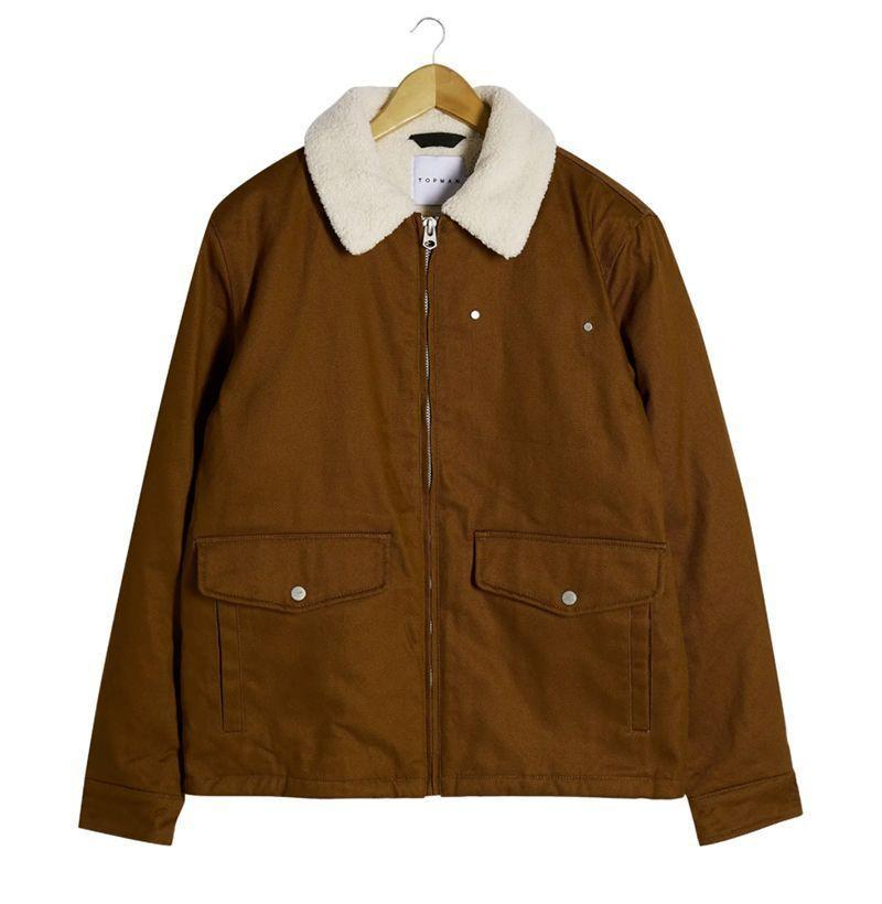 """<p><strong>Topman</strong></p><p>nordstrom.com</p><p><strong>$110.00</strong></p><p><a href=""""https://go.redirectingat.com?id=74968X1596630&url=https%3A%2F%2Fwww.nordstrom.com%2Fs%2Ftopman-nebraska-faux-shearling-collar-jacket%2F5734134&sref=https%3A%2F%2Fwww.esquire.com%2Fstyle%2Fmens-fashion%2Fg22107232%2Fcool-jackets-for-men%2F"""" rel=""""nofollow noopener"""" target=""""_blank"""" data-ylk=""""slk:Buy"""" class=""""link rapid-noclick-resp"""">Buy</a></p><p>I've never been to Nebraska (and, frankly have no plans of visiting...ever), but I have a very, very hard time believing all the dudes out there are walking around decked out in duds this damn handsome. Kudos to you, Nebraska. I'm not sure how you finessed this namesake. </p>"""