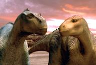 """<p><strong>What It's About:</strong> """"When a meteor shower destroys their home, iguanodon Aladar and his family join a herd of dinosaurs heading for safety. En route, he befriends Baylene, an elderly brachiosaur; Eema, an unstoppable styracosaur; and Neera, a feisty fellow iguanodon. Together, they must stand strong amidst supply shortages, the threat of carnotaur attacks, and Aladar's run-ins with the herd's stubborn leader, Kron.""""</p> <p><a href=""""https://www.disneyplus.com/movies/dinosaur/4Y8JDyEGYTkL"""" class=""""link rapid-noclick-resp"""" rel=""""nofollow noopener"""" target=""""_blank"""" data-ylk=""""slk:Watch Dinosaur on Disney+ here!"""">Watch <strong>Dinosaur</strong> on Disney+ here!</a></p>"""