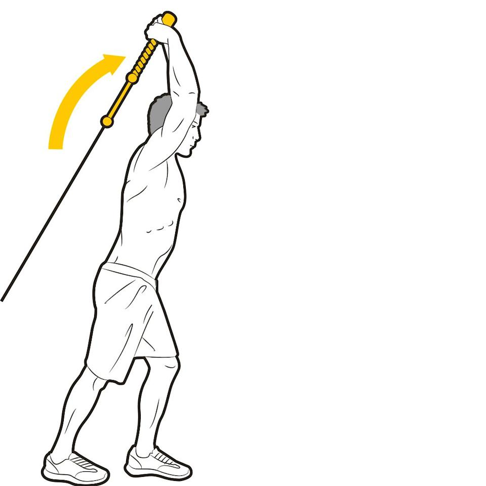 """<p>Face away from the pulley, gripping the rope behind you with high elbows. Extend your arms upward, squeezing the triceps. """"This also works the muscles that stabilise your shoulders, which will benefit your all-round gym game,"""" says Stafford. Rest for 90 seconds, then go back to the push-downs for the next set.</p>"""