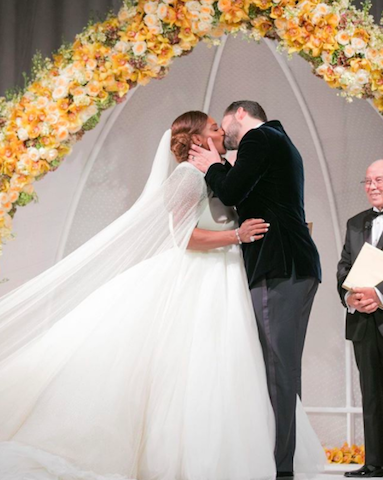 <p>For Serena Williams and now-husband Alexis Ohanian's Beauty and the Beast-inspired nuptials, the tennis champion donned a frothy gown by Alexander McQueen (which even featured a pretty awe-inspiring cape). While, Alexis opted for an Armani suit. <em>[Photo: Instagram]</em> </p>