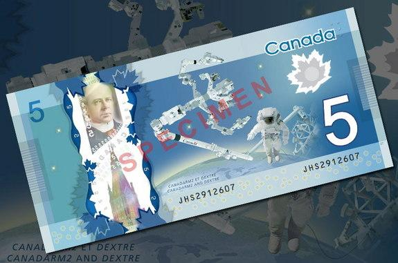 Canada Launches New Space Robot-Themed $5 Bill into Circulation
