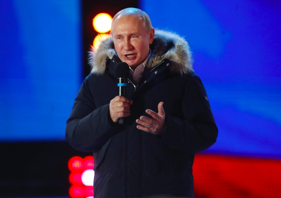 <em>Putin cruised to a crushing election victory (PA)</em>