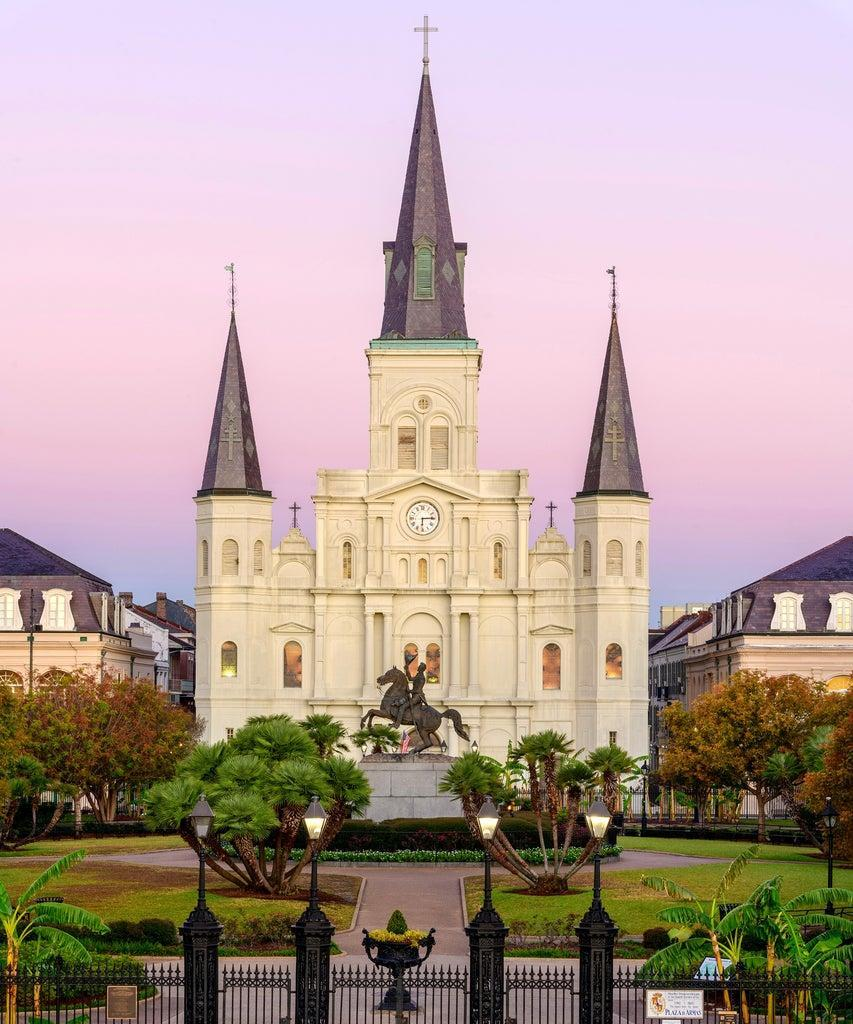 USA, Deep South, Louisiana, New Orleans, Jackson Square, St.Louis Cathedral, National Historic Landmark . (Photo by: Dukas/Christian Heeb/Universal Images Group via Getty Images)