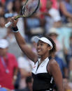 Naomi Osaka, of Japan, reacts after defeating Magda Linette, of Poland, during the second round of the US Open tennis championships Thursday, Aug. 29, 2019, in New York. (AP Photo/Eduardo Munoz Alvarez)