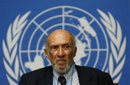 UN Special Rapporteur on occupied Palestine Falk addresses a news conference in Geneva