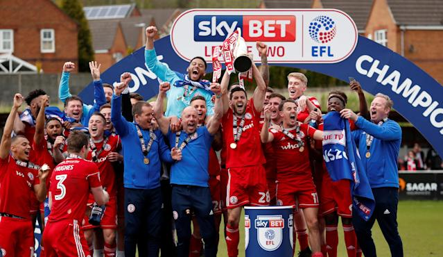 "Soccer Football - League Two - Accrington Stanley v Lincoln City - Wham Stadium, Accrington, Britain - April 28, 2018 Accrington Stanley celebrate with the trophy Action Images/Andrew Boyers EDITORIAL USE ONLY. No use with unauthorized audio, video, data, fixture lists, club/league logos or ""live"" services. Online in-match use limited to 75 images, no video emulation. No use in betting, games or single club/league/player publications. Please contact your account representative for further details."