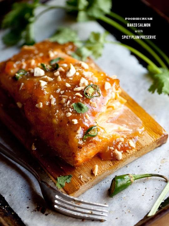 If you prefer your Easter meal with a kick, baked salmon with spicy plum preserves is a must-try.