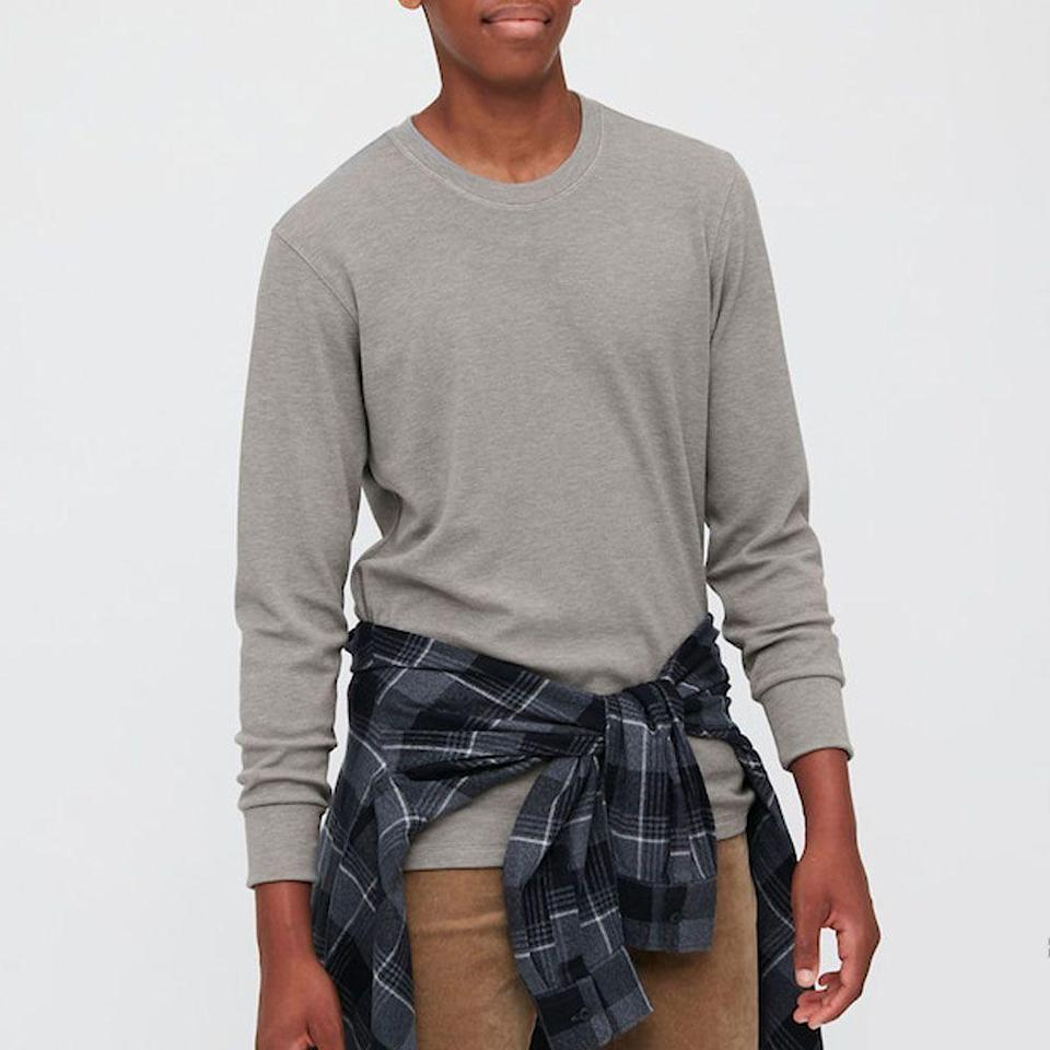 """<p>uniqlo.com</p><p><strong>$24.90</strong></p><p><a href=""""https://go.redirectingat.com?id=74968X1596630&url=https%3A%2F%2Fwww.uniqlo.com%2Fus%2Fen%2Fmen-heattech-ultra-warm-long-sleeve-t-shirt-429019.html&sref=https%3A%2F%2Fwww.menshealth.com%2Fstyle%2Fg25171257%2Fbest-thermal-shirts-for-men%2F"""" rel=""""nofollow noopener"""" target=""""_blank"""" data-ylk=""""slk:BUY IT HERE"""" class=""""link rapid-noclick-resp"""">BUY IT HERE</a></p><p>This Uniqlo men's waffle shirt is one of the best base layers for extreme cold, but it's also worthy of wearing on its own as your go-to winter t-shirt to wear with jeans and sneakers. It boasts the perfect, slightly boxy fit and it comes in a variety of shades so you can snap up a few of your favorites.</p>"""