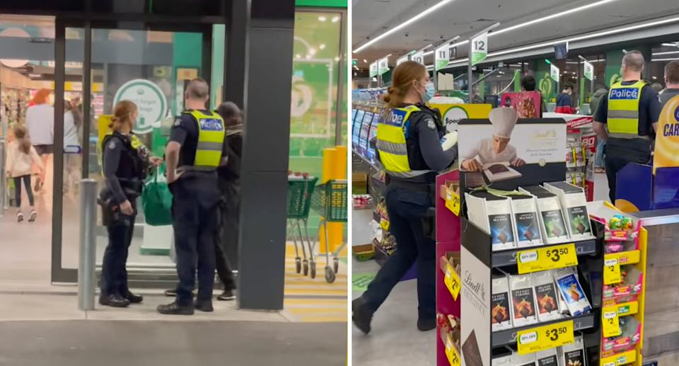 Stills from video of Melbourne police officers helping a homeless man outside Woolworths.