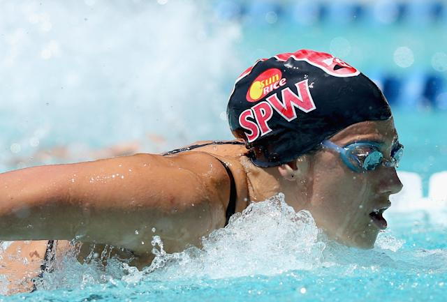 SANTA CLARA, CA - JUNE 03: Stephanie Rice of Australia swims the butterfly during the women's 200 meter IM during day 4 of the Santa Clara International Grand Prix at George F. Haines International Swim Center on June 3, 2012 in Santa Clara, California. (Photo by Ezra Shaw/Getty Images)