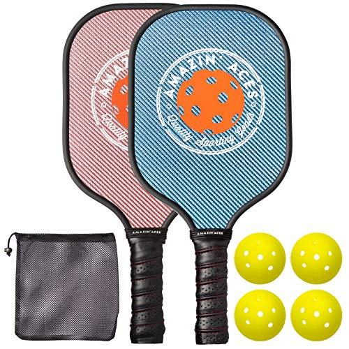 Amazin' Aces Pickleball Paddle Set | Pickleball Set Includes Two Graphite Pickleball Paddles + Four Balls + One Mesh Carry Bag | Rackets Feature a Graphite Face & Polymer Honeycomb Core (Blue & Pink) (Amazon / Amazon)