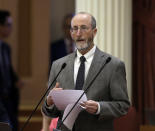 FILE - In this June 14, 2018 file photo State Sen. Steve Glazer, D-Orinda, addresses the state Senate at the Capitol, in Sacramento, Calif. Glazer and Assemblyman Marc Berman, D-Palo Alto, called for reforming the recall election requirements, Wednesday Sept. 15, 2021. This could include increasing the number of signatures to force a recall election, raising the standards to require malfeasance on the part of the office-holder and change the current process in which someone with a small percentage of votes could replace a sitting governor. (AP Photo/Rich Pedroncelli, File)
