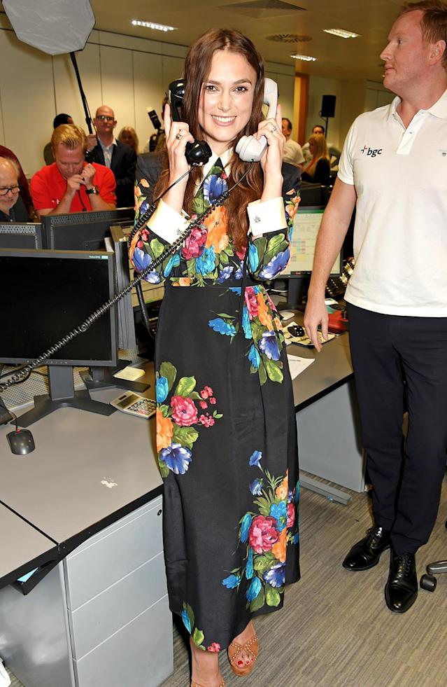 <p>Knightley and other stars answered phones in London for BGC Charity Day on Sept. 11, the 16th anniversary of 9/11. The volunteers raised funds in honor of those who died in the World Trade Center attacks, with the money benefitting the Cantor Fitzgerald Relief Fund to help victims of terrorism and natural disasters. (Photo: David M. Benett/Dave Benett/Getty Images for BGC Partners) </p>