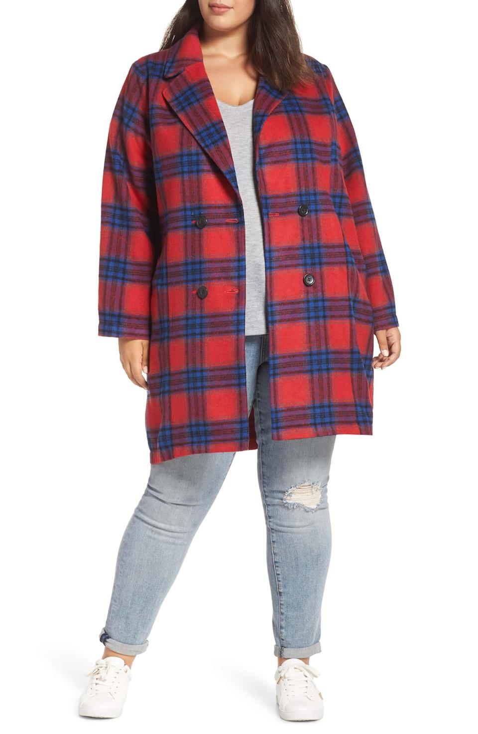 "<p>Nothing says cold weather fashion to me like a thick longline plaid coat. Wear this one paired with everything from jeans to a matching athleisure set for an instant tailored look.<br><strong><a href=""https://go.skimresources.com?id=125078X1586062&xs=1&url=https%3A%2F%2Fshop.nordstrom.com%2Fs%2Fbp-double-breasted-plaid-jacket-plus-size%2F5002548%3Forigin%3Dkeywordsearch-personalizedsort%26breadcrumb%3DHome%252FAll%2520Results%26color%3Dred%2520chinoise%2520rita%2520plaid"" rel=""nofollow noopener"" target=""_blank"" data-ylk=""slk:Shop it:"" class=""link rapid-noclick-resp"">Shop it:</a></strong> BP Double Breasted Plaid Jacket, $89, <a href=""https://go.skimresources.com?id=125078X1586062&xs=1&url=https%3A%2F%2Fshop.nordstrom.com%2Fs%2Fbp-double-breasted-plaid-jacket-plus-size%2F5002548%3Forigin%3Dkeywordsearch-personalizedsort%26breadcrumb%3DHome%252FAll%2520Results%26color%3Dred%2520chinoise%2520rita%2520plaid"" rel=""nofollow noopener"" target=""_blank"" data-ylk=""slk:nordstrom.com"" class=""link rapid-noclick-resp"">nordstrom.com</a> </p>"