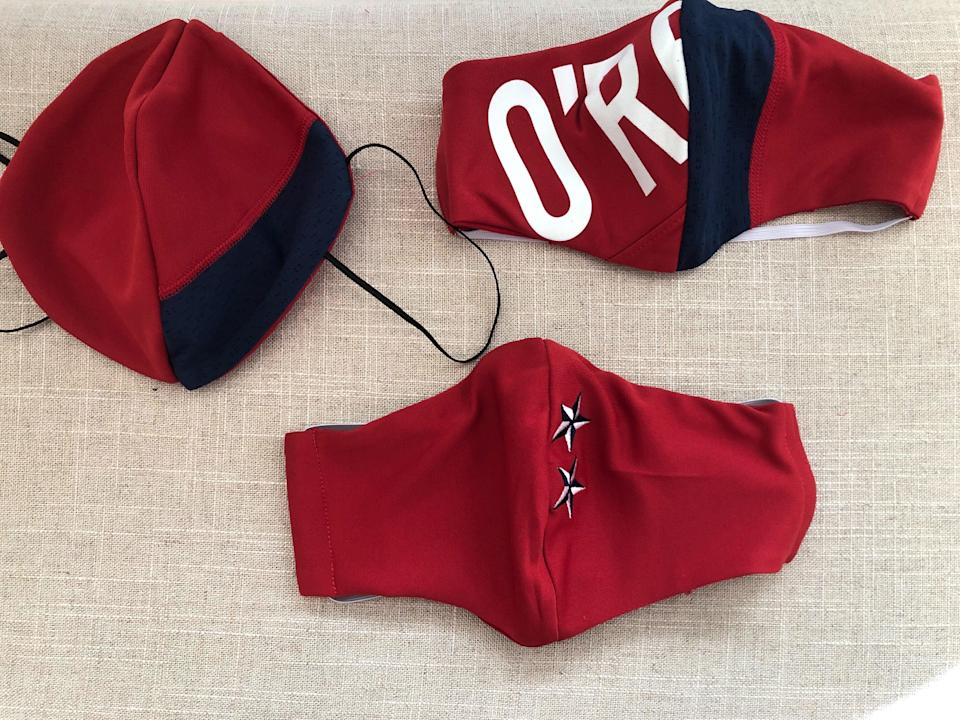 A jersey once worn by USWNT legend Heather O'Reilly was turned into three protective face masks. (U.S. Soccer)