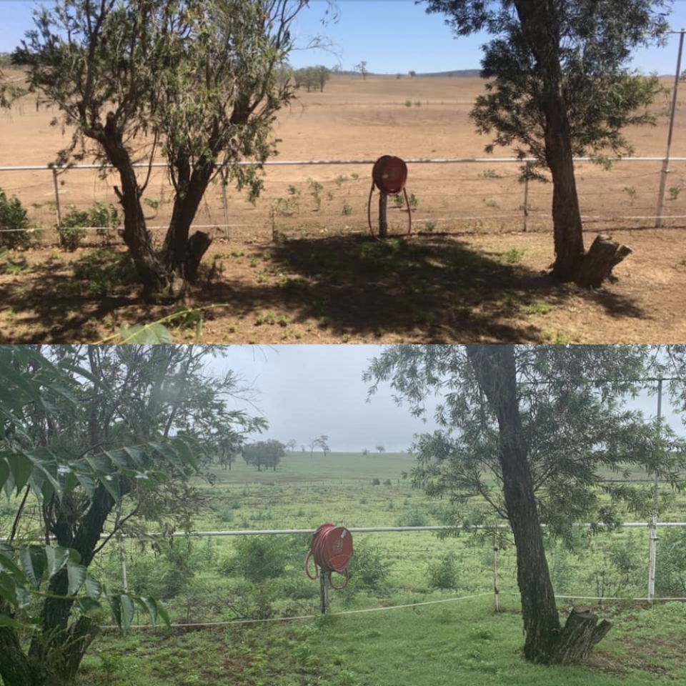 A before and after of a property northwest of Muswellbrook. Source: Facebook