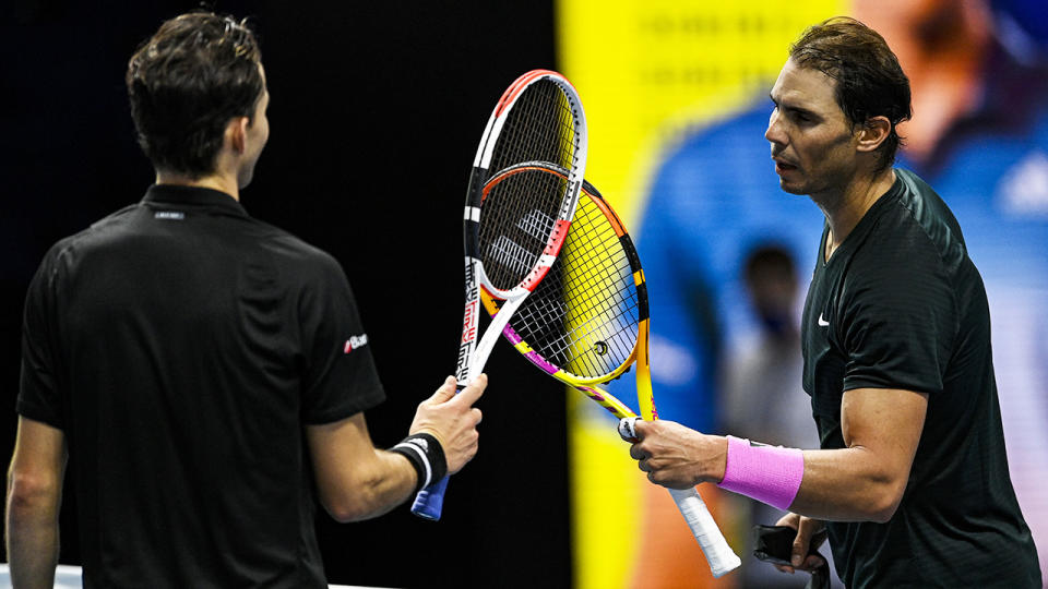 Dominic Thiem and Rafael Nadal, pictured here after their match at the ATP World Tour Finals.