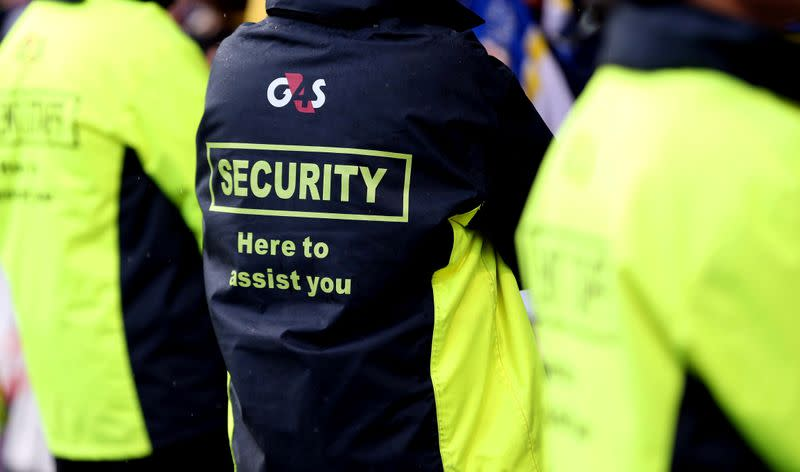 FILE PHOTO: Security staff in G4S jackets at the Challenge Cup semi-final between Huddersfield Giants and Warrington Wolves