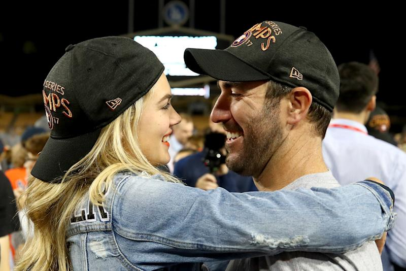 Upton and Verlander celebrate after the Astros defeated the Dodgers 5-1 in game seven of the 2017 World Series.  (Ezra Shaw via Getty Images)
