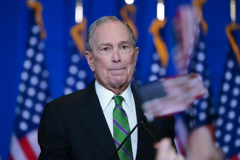 Former Democratic U.S. presidential candidate Mike Bloomberg appears before supporters after ending his campaign for president in New York