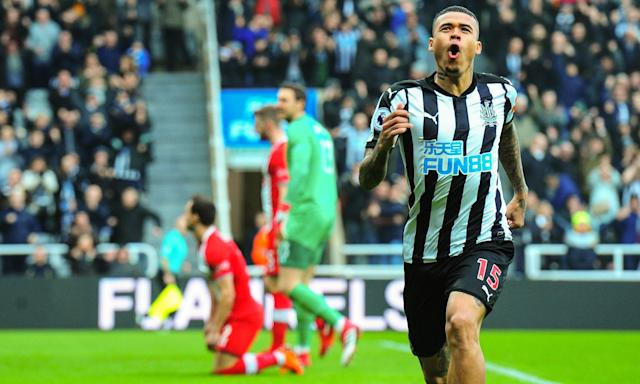 Kenedy celebrates scoring the opening goal for Newcastle against Southampton.