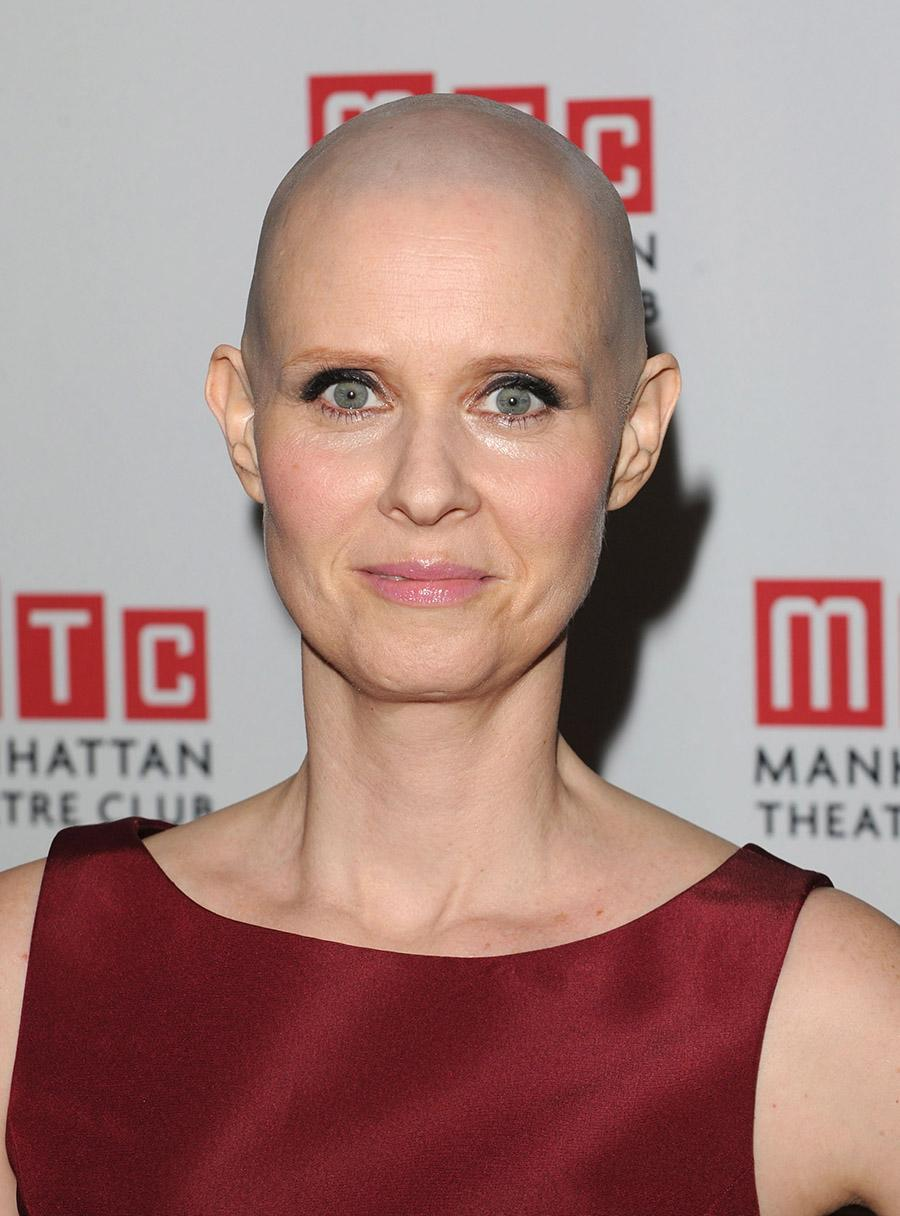 """<p>In 2012, Cynthia Nixon attended the opening night after-party for """"Wit"""" at the B.B. King Blues Club and Grill in New York City with a bald head and glowing skin. (Photo: Getty Images) </p>"""