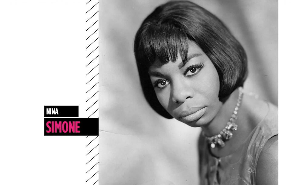 <p>Nina Simone's riveting vocals set her apart, as well as her sleek bob, heavily lined lids, and nude pout. (Photo: Getty Images) </p>