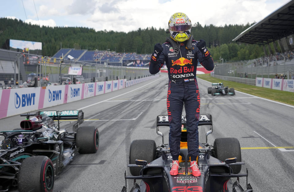 Red Bull driver Max Verstappen of the Netherlands celebrates after winning the Styrian Formula One Grand Prix at the Red Bull Ring racetrack in Spielberg, Austria, Sunday, June 27, 2021. (AP Photo/Darko Vojinovic, Pool)