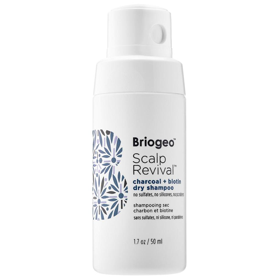 "<p>""I have a really sensitive scalp, and aerosol sprays frequently dry it out and make my head itch like crazy. When I found the <span>Briogeo Scalp Revival Charcoal + Biotin Dry Shampoo</span> ($24), I was relieved. When you squeeze the soft bottle, a puff of dry shampoo powder comes out and, after being rubbed in, absorbs all of the oil in my hair and gives my strands awesome volume. I love how well it cleans my hair without irritating my scalp. It's also better for the environment and cruelty-free which is always a plus."" - Sarah Siegel, former assistant editor, Beauty</p>"