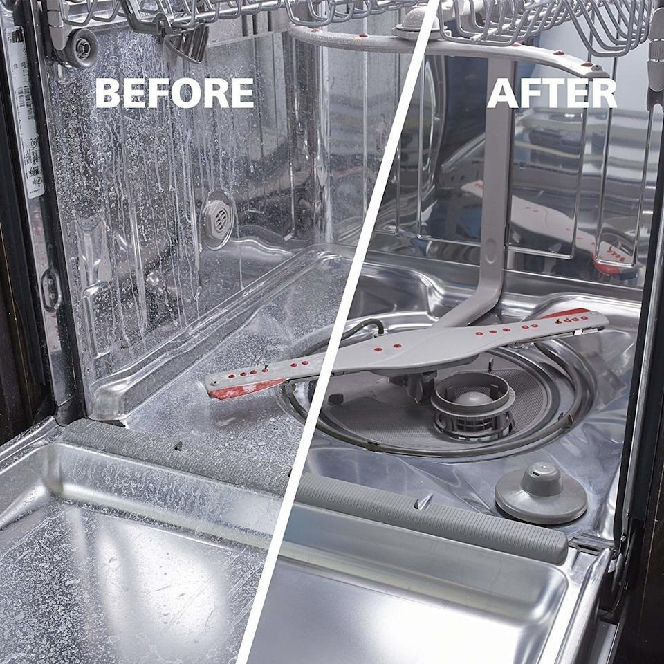 """Remove limescale, ruse, grease and other nasty buildups from your dishwasher so your machine runs more efficiently than ever. It even kills salmonella and E. coli!Just pour into your dishwasher (with no dishes in it, obviously) and run it at the hottest setting. Voila! All clean, with zero scrubbing needed.<br /><br /><strong>Promising review:</strong>""""This is one of those products you always wish you could have. It outperforms expectations and cleans a calcified dishwasher so that it gleams. Remember that stunning finish on the stainless steel panels and a sparkling detergent dish when you first bought the dishwasher? Well, if you have a high number of dissolved solids in your water,<strong>the result of just one treatment is remarkable</strong>. We recommend this product without qualification."""" —<a href=""""https://www.amazon.com/dp/B004JP8RTI?tag=huffpost-bfsyndication-20&ascsubtag=5883859%2C10%2C54%2Cd%2C0%2C0%2C0%2C962%3A1%3B901%3A2%3B900%3A2%3B974%3A3%3B975%3A2%3B982%3A2%2C16464311%2C0"""" target=""""_blank"""" rel=""""noopener noreferrer"""">D. C. Alexander III</a><br /><strong><br />Get a pack of three from Amazon for<a href=""""https://www.amazon.com/dp/B004JP8RTI?tag=huffpost-bfsyndication-20&ascsubtag=5883859%2C10%2C54%2Cd%2C0%2C0%2C0%2C962%3A1%3B901%3A2%3B900%3A2%3B974%3A3%3B975%3A2%3B982%3A2%2C16464311%2C0"""" target=""""_blank"""" rel=""""noopener noreferrer"""">$17.34</a>.</strong>"""