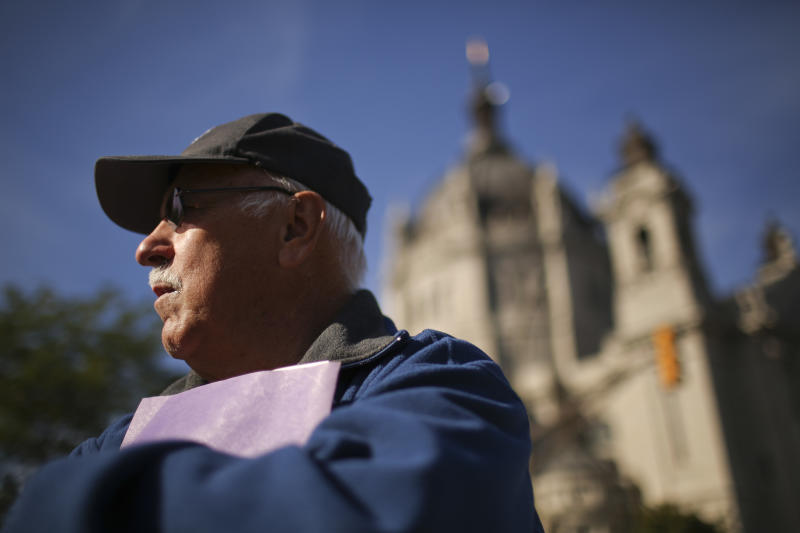 Frank Meuers stands outside the headquarters of the Catholic Church in St. Paul, Minn. Monday afternoon, Oct. 7, 2013 after a news conference presented by SNAP, Survivors Network of those Abused by Priests. Meuers came forward and for the first time publicly told how he was abused by a priest, Rudolph Henrich, while a youngster in Golden Valley. (AP Photo/The Star Tribune, Jeff Wheeler) MANDATORY CREDIT; ST. PAUL PIONEER PRESS OUT; MAGS OUT; TWIN CITIES TV OUT