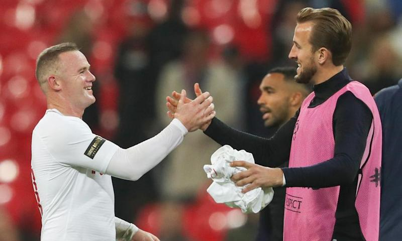 Wayne Rooney and the current England captain, Harry Kane, enjoy the moment after the 3-0 win over the USA at Wembley.