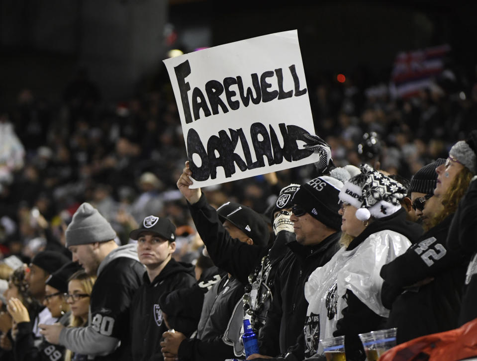 If Monday was indeed the final NFL game played at the Oakland Coliseum, Raiders fans witnessed a fitting finale. (Getty)
