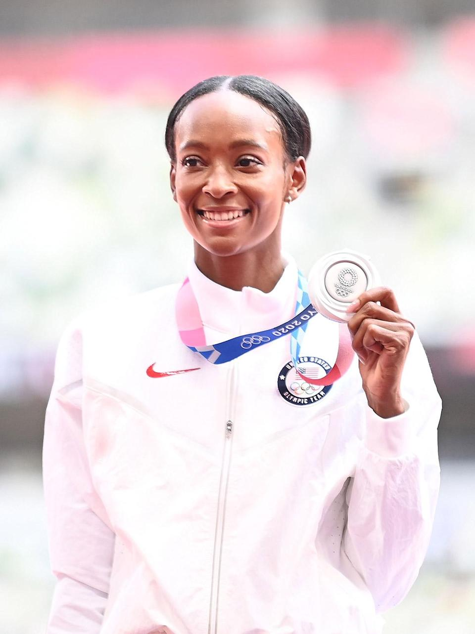 """<p>Biography: 21 years old</p> <p>Event: Women's 400m hurdles</p> <p>Quote: """"I think we as a society need to separate all of the accomplishments that are made and be happy with the accomplishments that you make within yourself. To be sitting here, 1-2-3 with crazy fast times, it's an accomplishment in itself. I'm truly proud of that.""""</p>"""