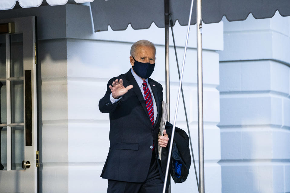 WASHINGTON, DC - FEBRUARY 5: President Joe R. Biden walks to board Marine One and depart from the South Lawn at the White House on Friday, Feb 05, 2021 in Washington, DC. (Photo by Jabin Botsford/The Washington Post via Getty Images)