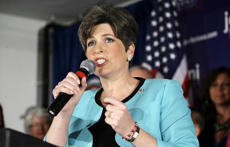State Sen. Joni Ernst speaks to supporters at a primary election night rally after winning the Republican nomination for the U.S. Senate, Tuesday, June 3, 2014, in Des Moines, Iowa. The 43-year-old Ernst won the nomination over five candidates. (AP Photo/Charlie Neibergall)