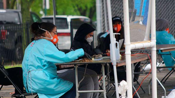 PHOTO: In this May 14, 2020 photo, a new testing site opened in the Little Village neighborhood of Chicago after initial reports that testing was lacking in the area. (Noreen Nasir/AP)