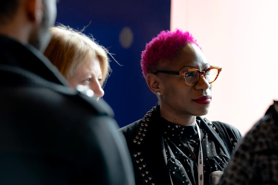 VANCOUVER, CANADA – APRIL 16: Adah Parris speaks with fellow attendees at TED2019 - Bigger Than Us on April 16, 2019 in Vancouver, Canada. (Photo by Lawrence Sumulong/Getty Images)