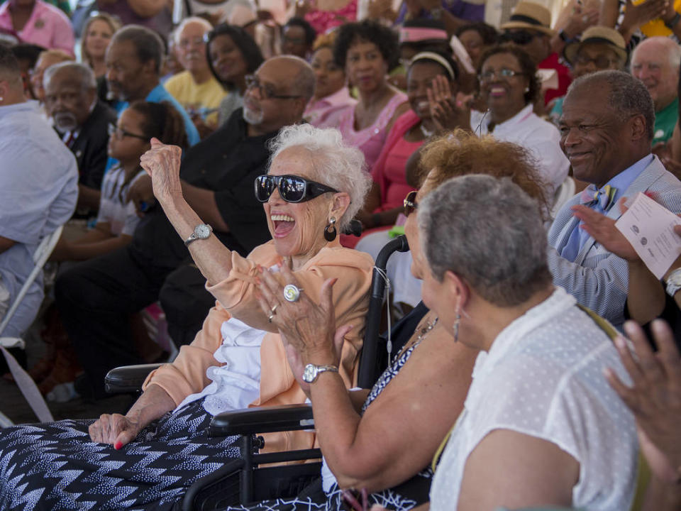 "Famed NASA ""hidden figure"" and human computer Katherine Johnson celebrates her 98th birthday at the Virginia Air and Space Center at NASA's Langley Research Center in Virginia."