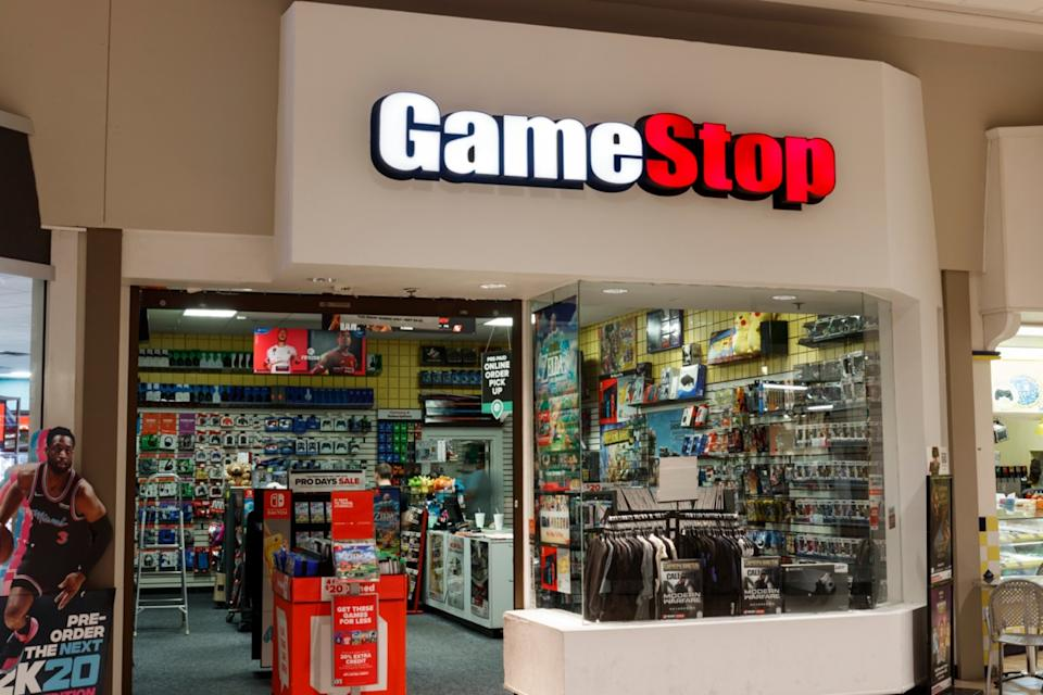 the entrance of a Game Stop store in a mall in Kokomo, Indiana