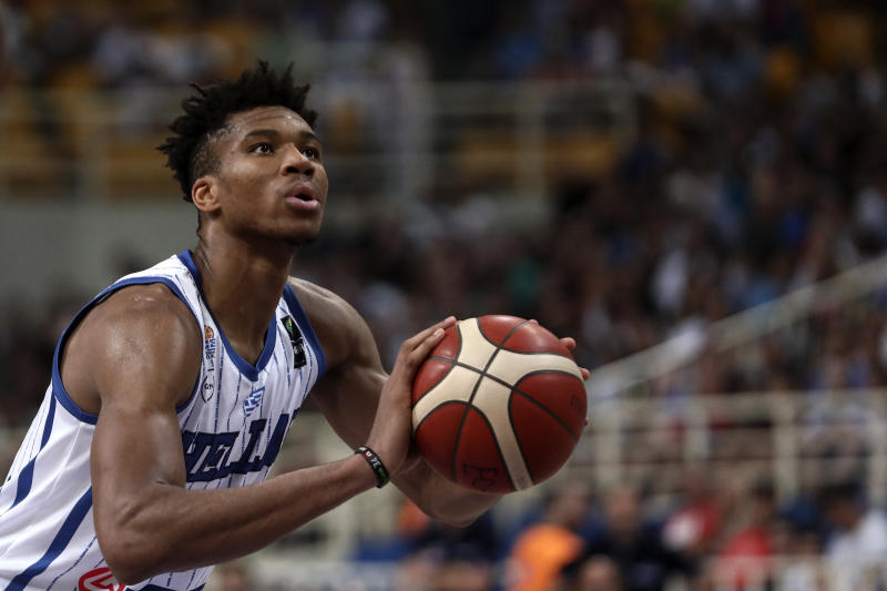 Greece's Giannis Antetokounmpo, of the Milwaukee Bucks, prepares for a free throw, during a game against Italy, at the Acropolis basketball tournament at the indoor Olympic stadium of Athens, Friday, Aug. 16, 2019. (AP Photo/Yorgos Karahalis)