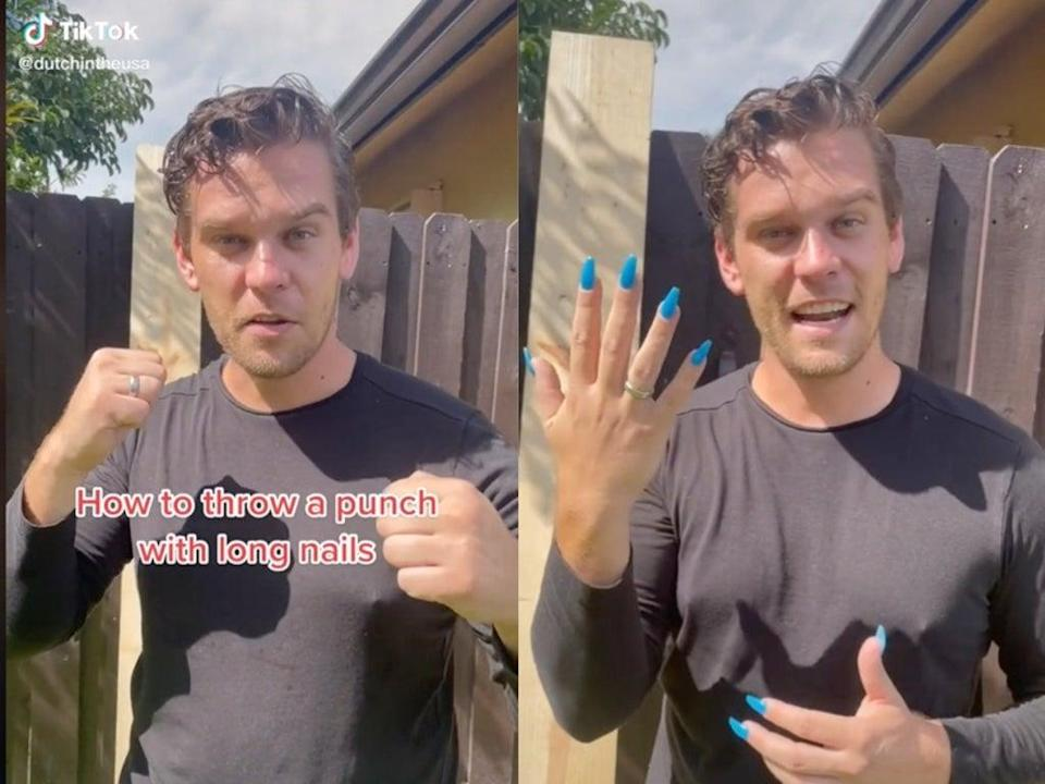 Former royal marine shows how to throw a punch with acrylics on  (TikTok / @dutchintheusa)