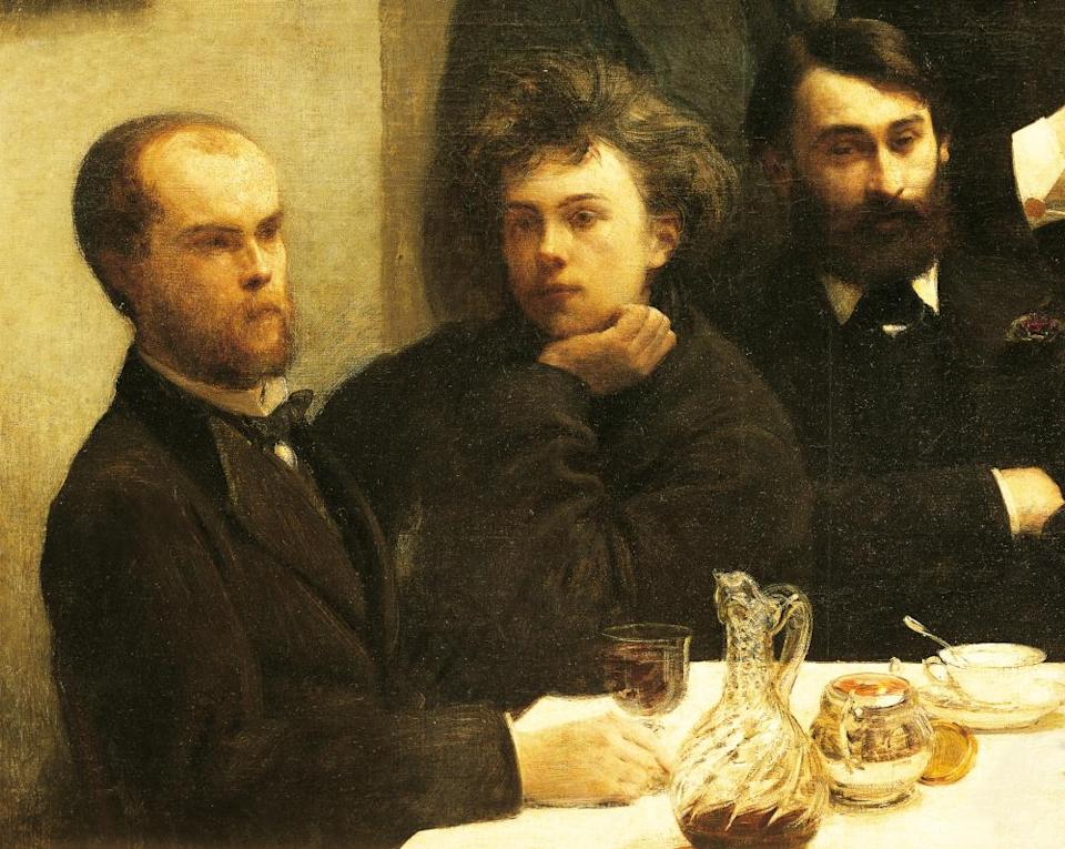 Verlaine, left, with Rimbaud and Léon Valade in a detail from By the Table, 1872, by Henri Fantin-Latour