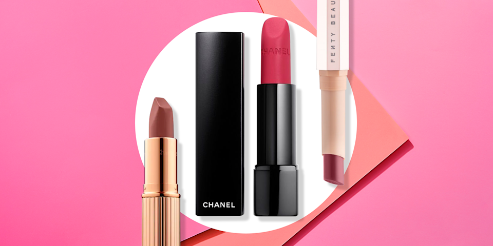 """<p>I am <em>obsessed</em> with lipstick–so much that I own literally hundreds (and yes, I wear all of them). While I love a good gloss, there's nothing that has quite as much impact as matte lipstick. Opaque and pigmented, matte lipstick packs the most punch when you're looking to make a bold statement. </p><p>If you're worried about drying out your pout–fear not. After trying countless formulas out there, I've come up with a comprehensive list of matte lipsticks that give you that incredible color payoff and <em>won't</em> leave your lips feeling sucked lifeless. For best results, I highly suggest using a light sugar scrub beforehand, like <a href=""""https://www.lushusa.com/face/lip-scrubs-and-balms/bubblegum/9999903056.html"""" rel=""""nofollow noopener"""" target=""""_blank"""" data-ylk=""""slk:this one from Lush"""" class=""""link rapid-noclick-resp"""">this one from Lush</a>, or even just rub your lips with a towel or toothbrush to create a smooth base for application. Then, follow with your favorite lip balm, or a primer like <a href=""""https://www.maccosmetics.com/product/13825/968/products/skincare/primers/prep-prime-lip"""" rel=""""nofollow noopener"""" target=""""_blank"""" data-ylk=""""slk:this one from MAC"""" class=""""link rapid-noclick-resp"""">this one from MAC</a> to make color stick even longer. Top it all off with one of the 20 all-time best matte lipsticks, ahead.</p>"""
